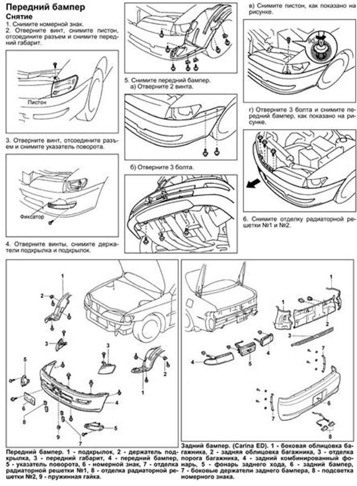 Схема демонтажа бампера