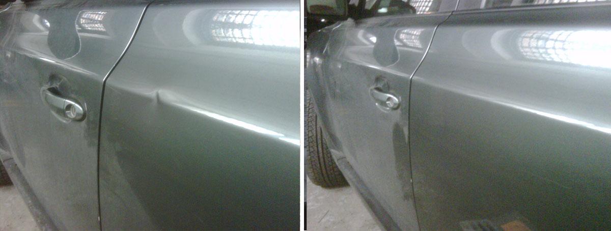 Результат выравнивания вмятины без покраски с помощью технологии PDR.